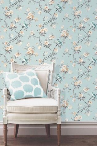 Fine Décor Blue Chinoiserie Floral Wallpaper