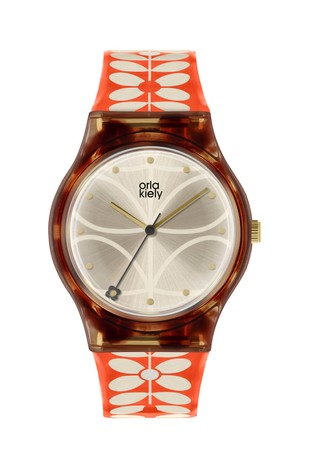 Orla Kiely Ladies Cream 60s Stem Print Strap Watch