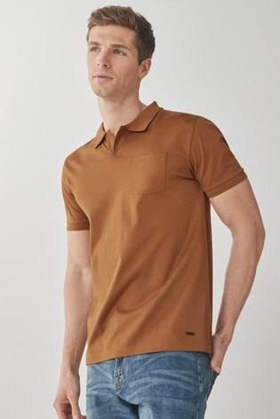 Tan Premium Cotton Revere Polo