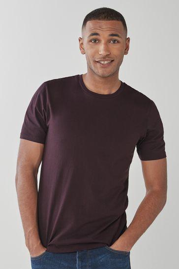 Dark Burgundy Red Slim Fit Crew Neck T-Shirt