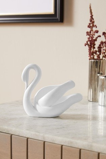 White Mini Contemporary Swan Ornament