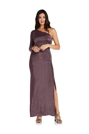 Adrianna Papell Purple Metallic Jersey Dress