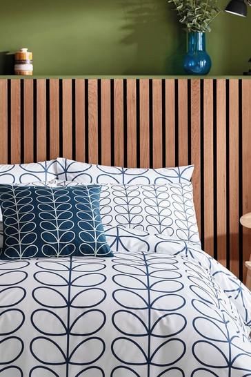 Set of 2 Orla Kiely Blue Linear Stem Pillowcases