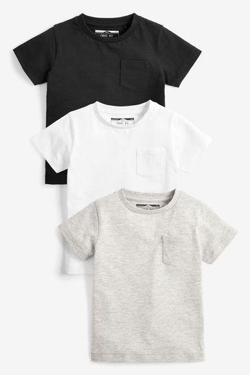 Black/Grey 3 Pack Plain T-Shirts (3mths-7yrs)