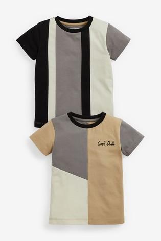 Grey/Black 2 Pack Organic Cotton Colourblock T-Shirts (3mths-7yrs)