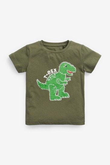 Khaki Dino Short Sleeve Sequin T-Shirt (9mths-7yrs)