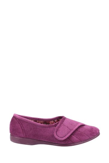 GBS Purple Audrey Touch Fastening Slippers