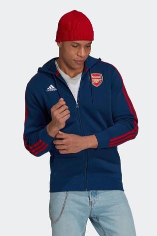 adidas Navy Arsenal 3 Stripe Zip Through Hoodie
