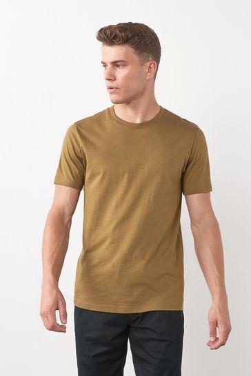 Olive Green Regular Fit Crew Neck T-Shirt