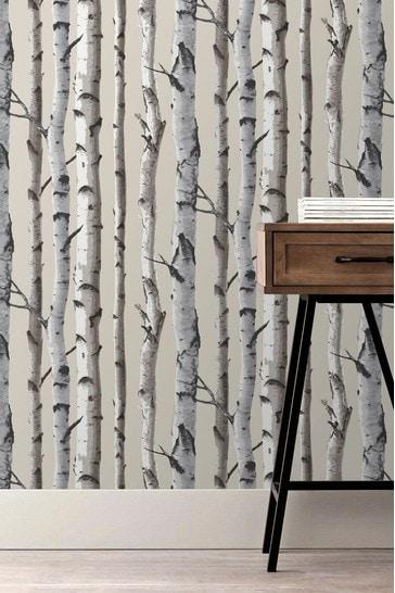 Fine Décor Natural Distinctive Birch Tree Sidewall Wallpaper