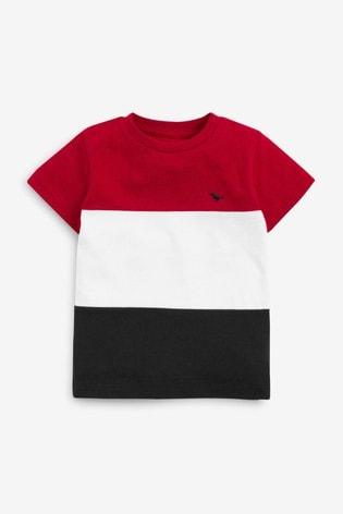 Red/Navy Colourblock Pique T-Shirt (3mths-7yrs)