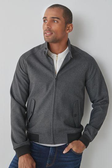 Charcoal Slim Fit Check Harrington Jacket
