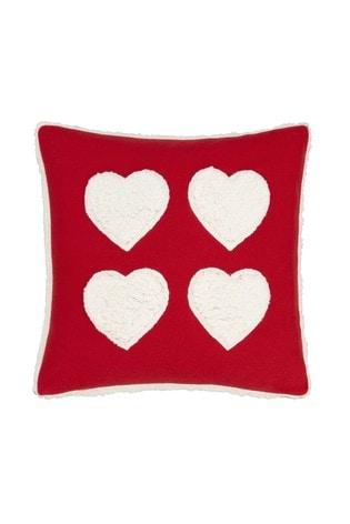 Catherine Lansfield Red Cosy Fleece Sherpa Heart Cushion
