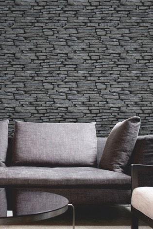 Fine Décor Silver Distinctive Slate Sidewall Wallpaper