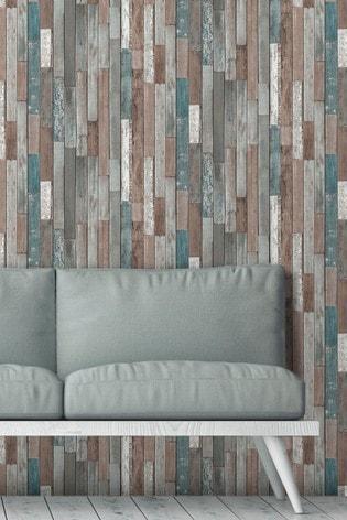 Fine Décor Blue Distinctive 4 Wood Reclaim Wallpaper