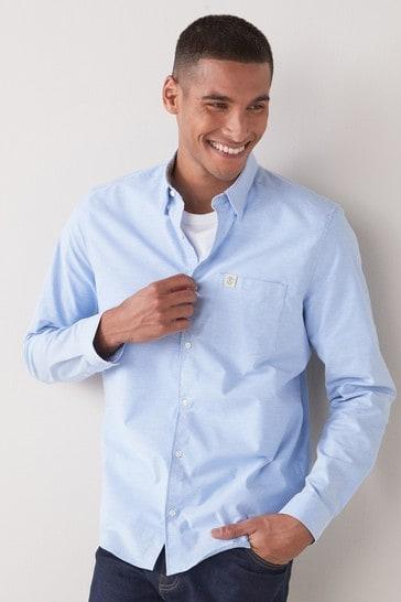 Blue Pocket Slim Fit Long Sleeve Stretch Oxford Shirt