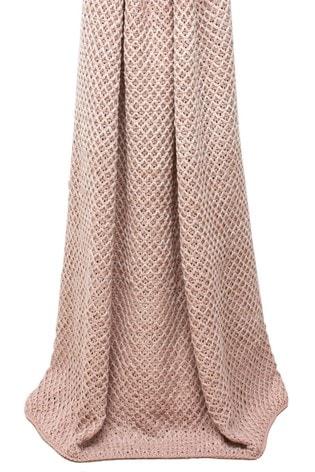 Riva Home Pink Elina Crochet Knit Throw