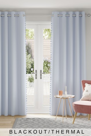 Soft Blue Textured Tassel Eyelet Blackout/Thermal Curtains
