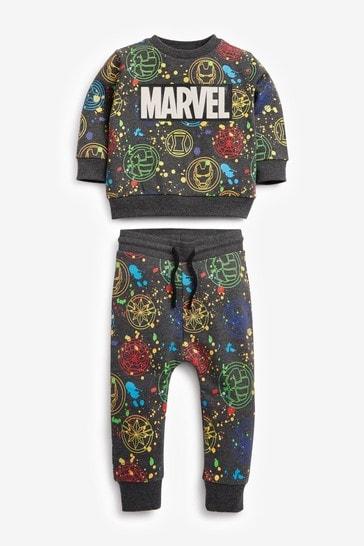 Charcoal Grey Splat Marvel Sweatshirt And Joggers Set (3mths-8yrs)
