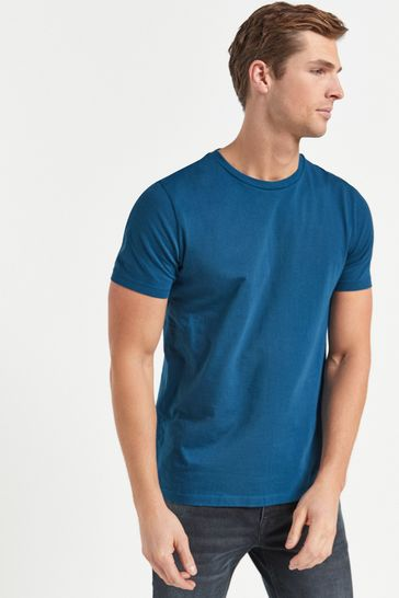 Teal Blue Slim Fit Crew Neck T-Shirt