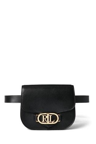 Lauren Ralph Lauren Black Addie Leather Belt Bag