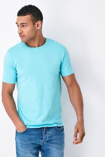 Aqua Blue Slim Fit Crew Neck T-Shirt