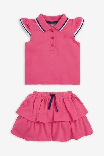Pink Polo Top And Skirt Set (3mths-7yrs)