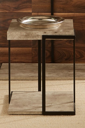 Pacific Concrete Effect MDF And Black Iron Side Table