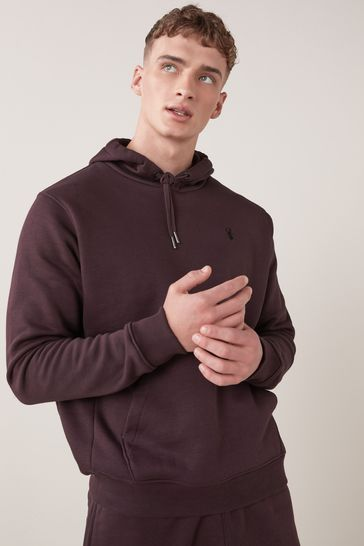 Burgundy Red With Stag Overhead Hoodie Jersey