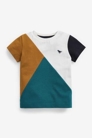 Teal/Tan Colourblock Pique T-Shirt (3mths-7yrs)