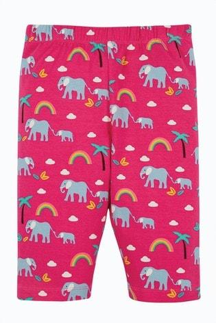 Frugi Organic Cotton Pink Elephants Legging Style Shorts