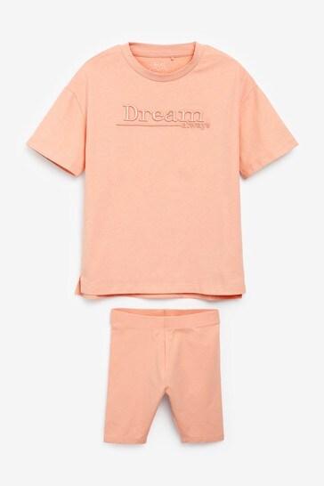 Orange Tonal T-Shirt And Shorts Set (3-16yrs)