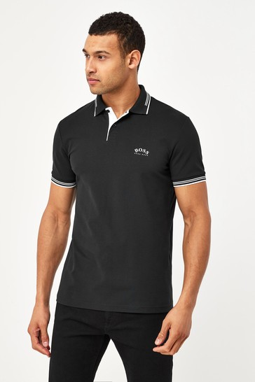 BOSS Grey Paul Curved Polo Shirt