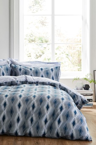 Bianca Navy Ziggurat Geo Cotton Duvet Cover And Pillowcase Set