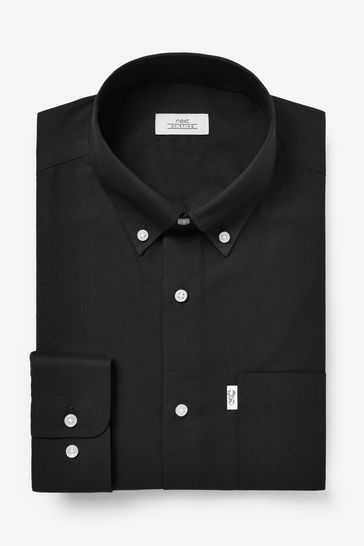Black Slim Fit Single Cuff Easy Iron Button Down Oxford Shirt