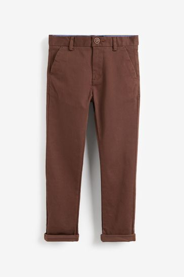 Chocolate Slim Fit Stretch Chino Trousers (3-16yrs)