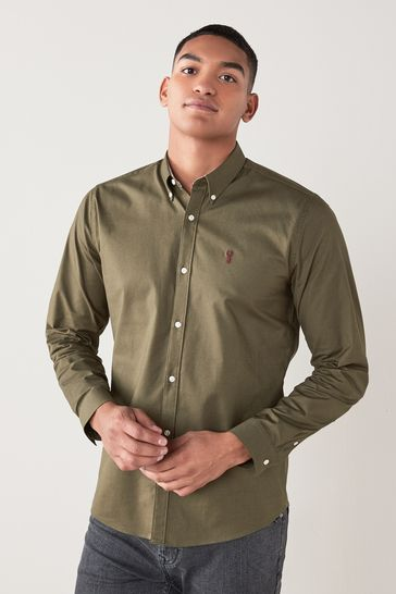 Green Regular Fit Long Sleeve Stretch Oxford Shirt