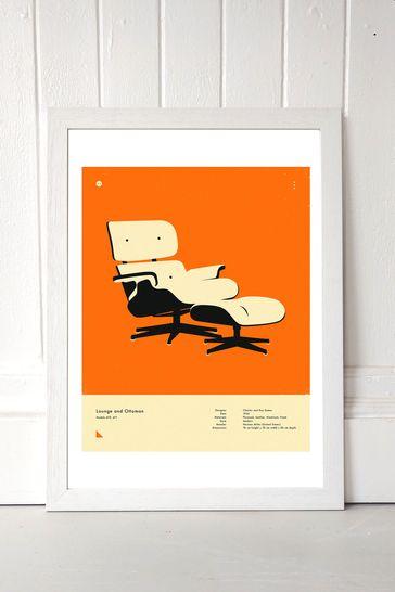 Orange Lounge Chair Print by East End Prints