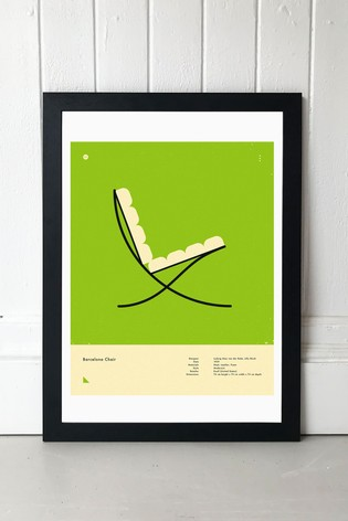 Green Barcelona Chair Print by East End Prints