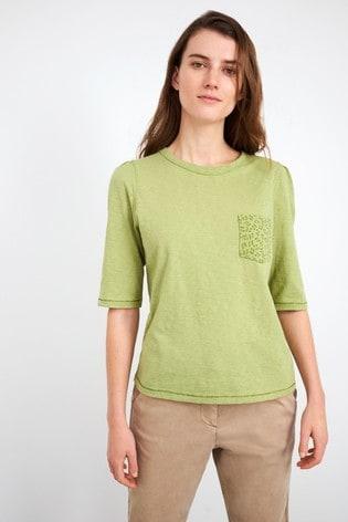 White Stuff Green Petunia Pocket T-Shirt