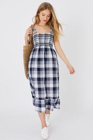 Accessorize Blue Gingham Midi Dress