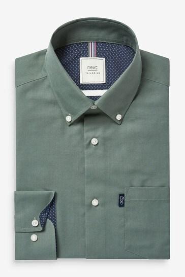 Khaki Green Regular Fit Single Cuff Easy Iron Button Down Oxford Shirt