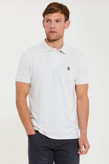 U.S. Polo Assn. Grey Core Regular Fit Pique Polo Shirt