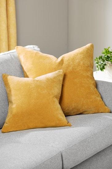 Honey Yellow Soft Velour Small Square Cushion