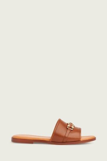 L.K.Bennett Brown Rosalind Snaffle Flat Sandals