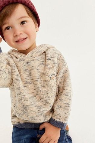 Ecru Knitted Oversized Stripe Hoodie (3mths-7yrs)