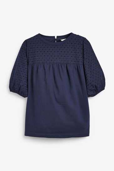Navy Short Sleeve Broderie Top