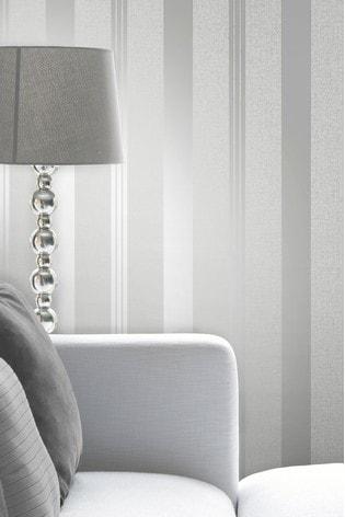 Fine Décor Silver Quartz Stripe Wallpaper