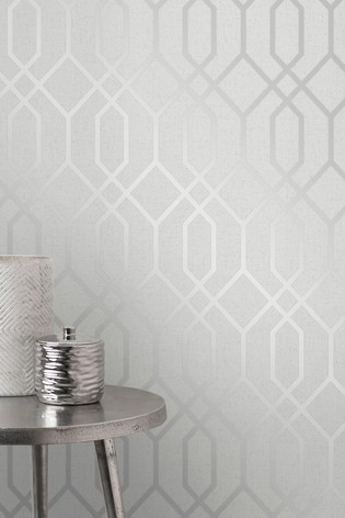 Fine Décor Silver Quartz Trellis Wallpaper