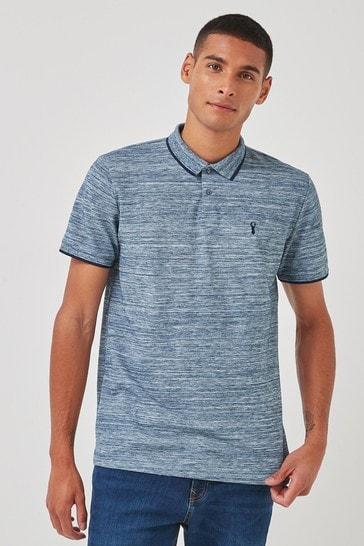 Blue Marl Tipped Regular Fit Polo Shirt